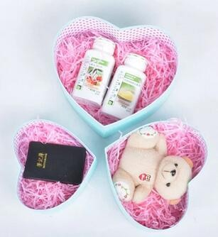 2017 cute empty printed heart shape box cosmetic packing gift cardboard box