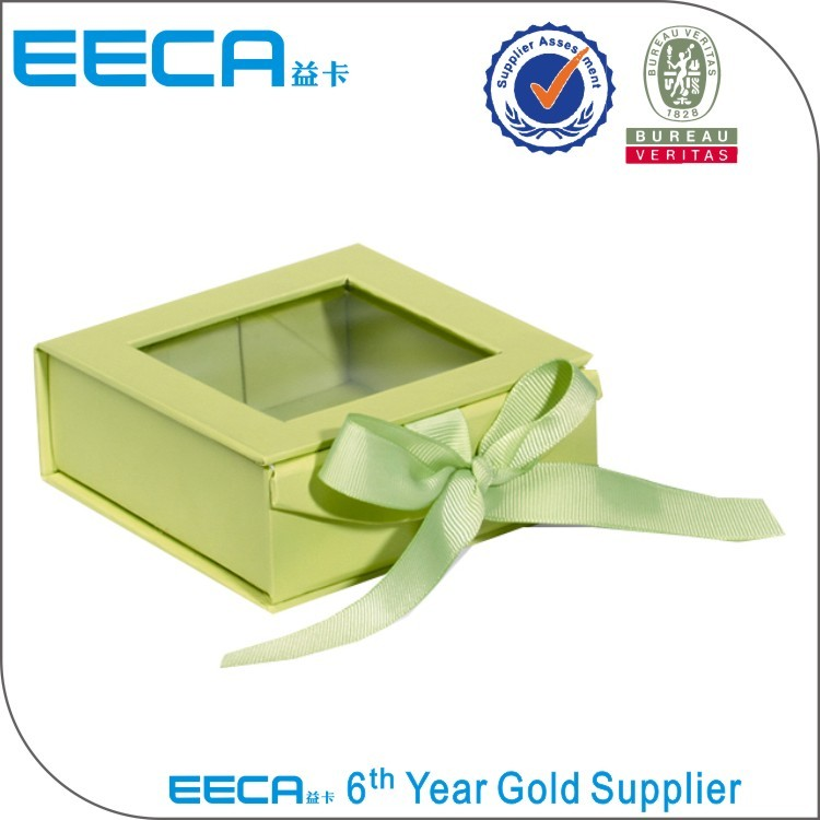 2017 Foldable Boxes custom matte laminated magnetic cardboard paper box with clear window transparent window gift box in EECA Packaging China