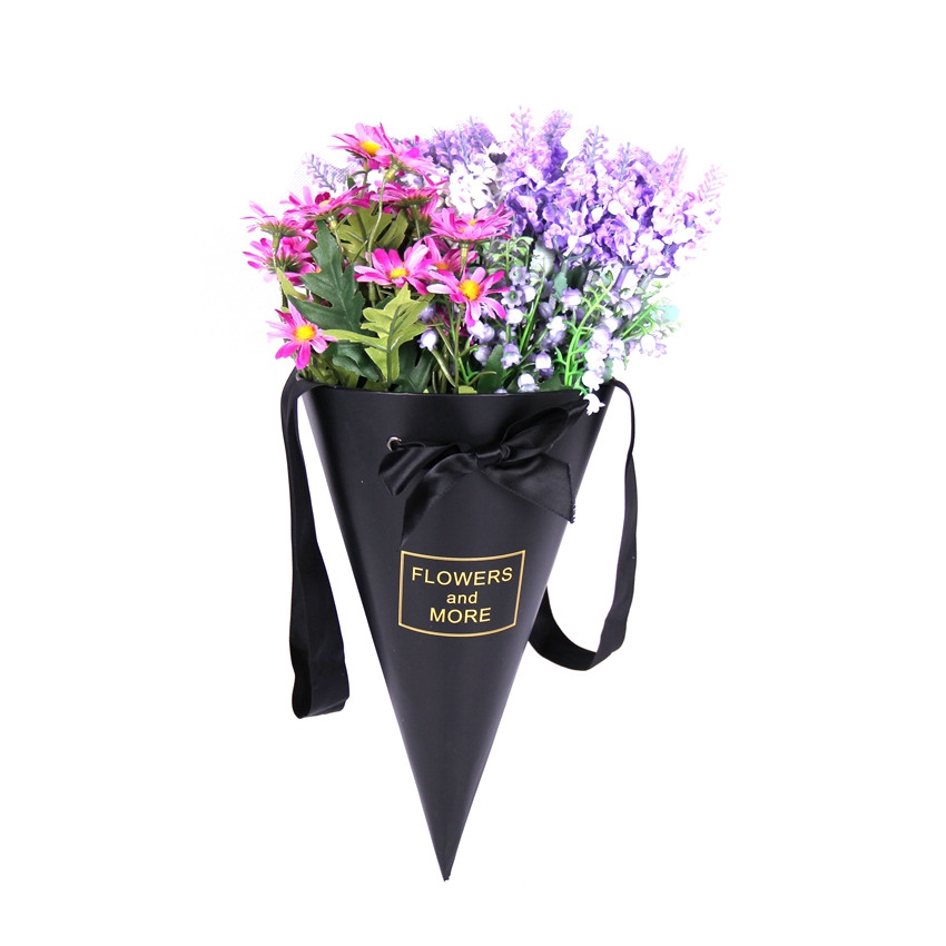 Unique design cardboard black cone flower gift box with ribbon handle/cone flower bouquet box in EECA