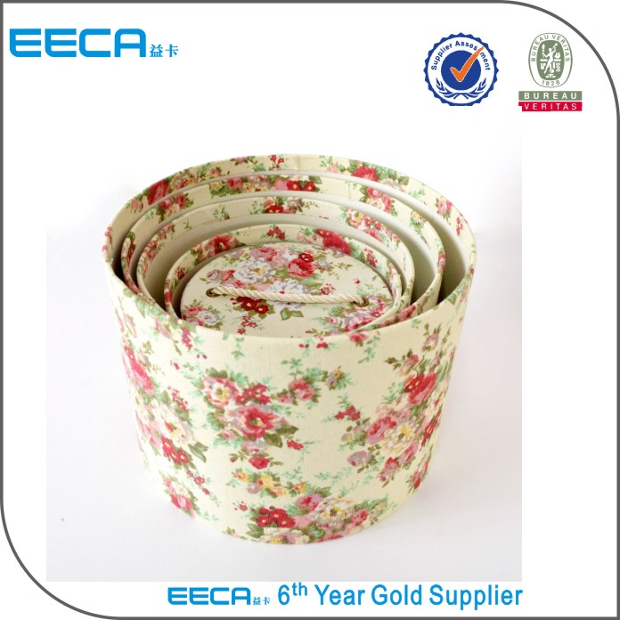 2017 Cylindrical flower box Custom printed paper round shoe box packaging with handle in China