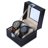 Custom watch box PU leather 2 blank watch storage with window to display in EECA