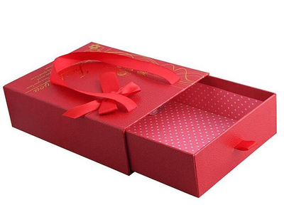 Hot sale Chinese red customized printed drawer gift box with ribbon sliding drawer box wedding gift box in EECA Packaging