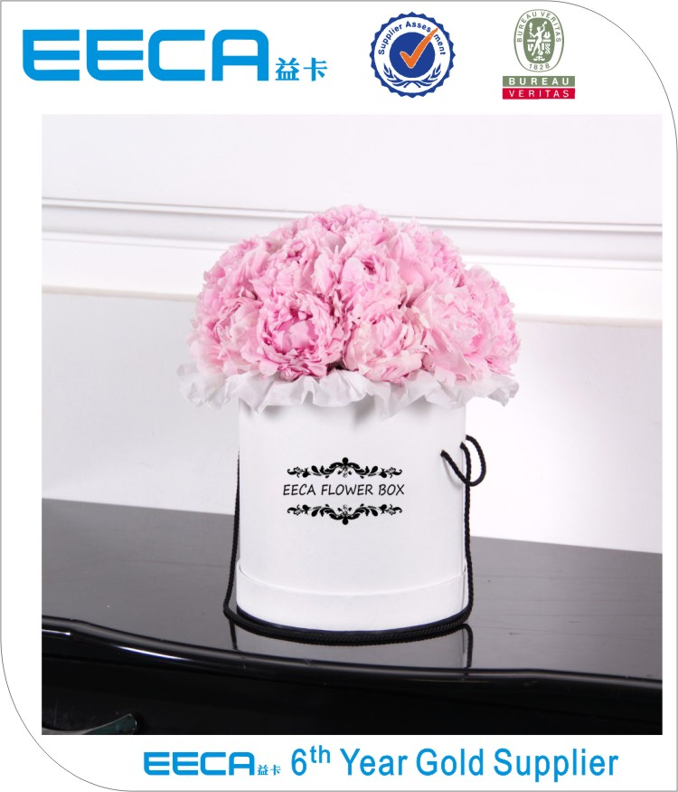 2017 High quality white round paper flower gift box/Cylindrical flower box/Flower box made in EECA China