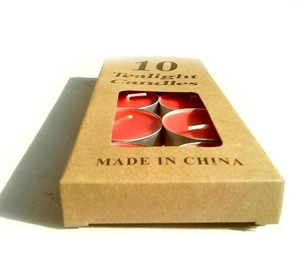 China Candle paper Box/Kraft paper candles box/10 tealight candles in EECA