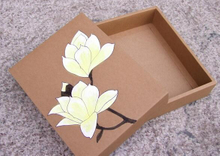 New printed Brown leather gift box matte glossy brown kraft paper gift packaging box
