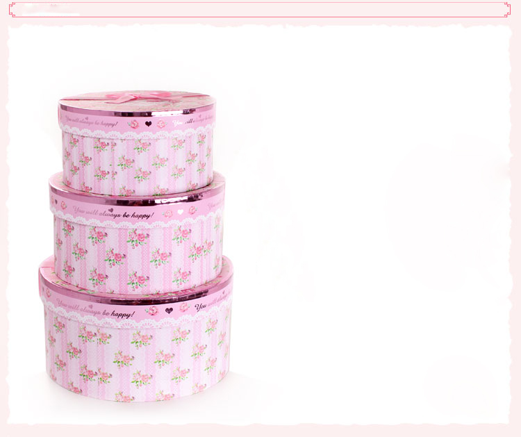 Pink Christmas cardboard round gift box/flower box waterproof hot sale in EECA Packaging China