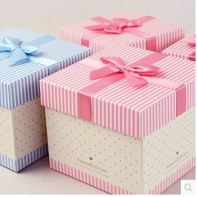 Butterfly ribbon square gift box handmade customized cosmetic gift paper box gift packaging box in china