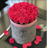 Custom luxury velvet flannelette round flower packaging gift box,suede flower box for roses