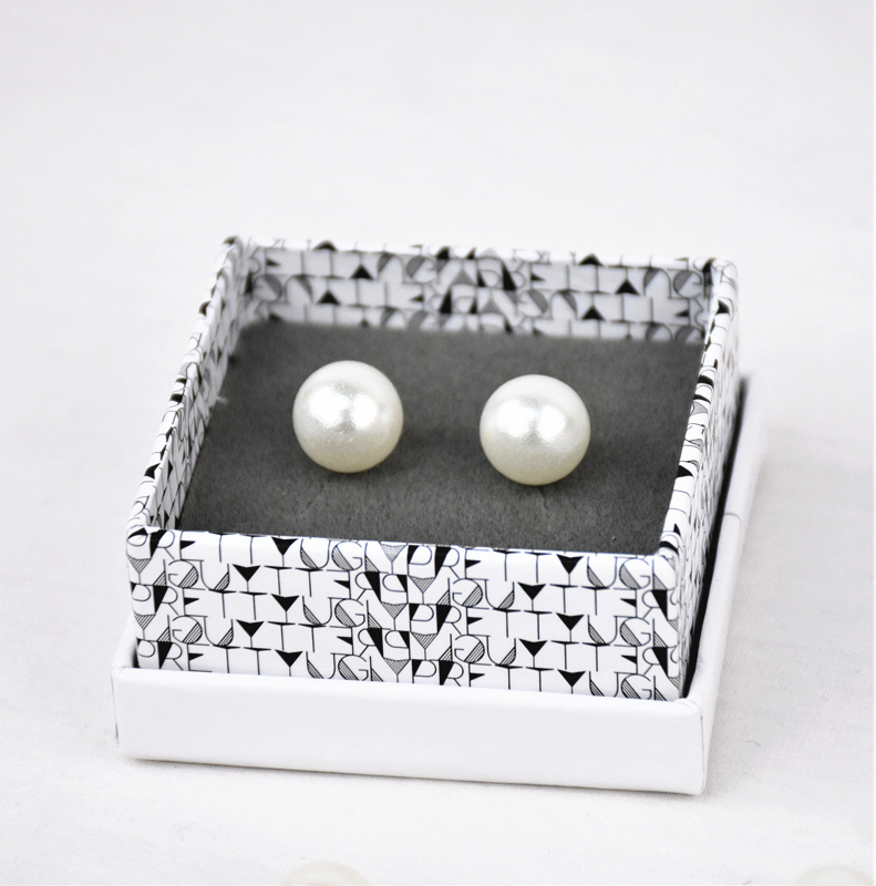 Custom small square jewelry pearl earring box with lid wholesale in EECA Factory