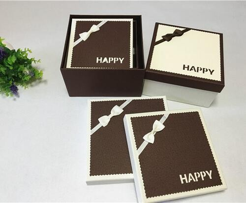 2017 fancy brown square handmade high quality gift packaging cardboard box with ribbon in china
