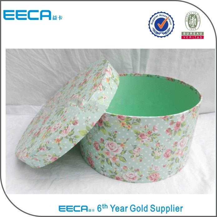 2017 Cylindrical flower box Pretty plain round cardboard packaging gift hat boxes made in China