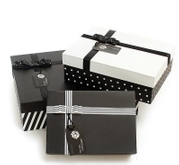 Pretty stripe rectangle gift box Handmade Custom Made Gift Packaging Paper Boxes black and white dots and stripes box