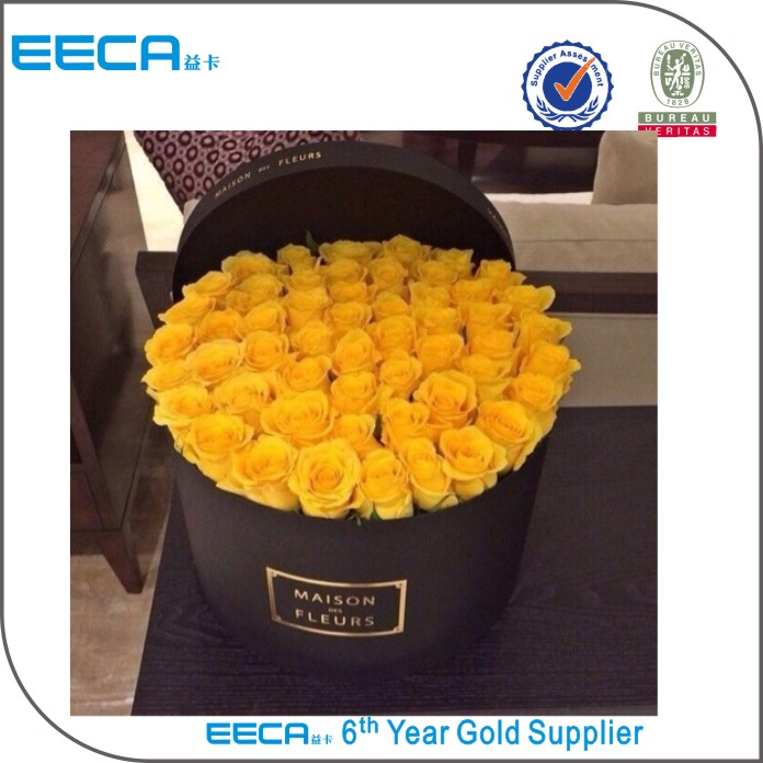 Luxury Fashion black large round flower hat box with gold hot stamping/waterproof flower box in EECA China
