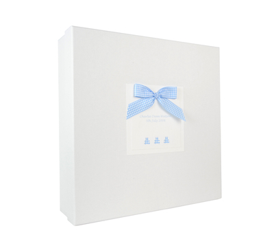 Rectangular gift box White paper cardboard gift pcakaging box with ribbon design