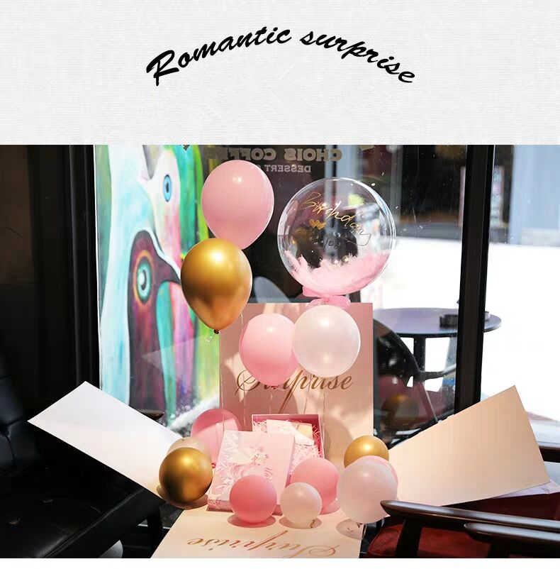 Custom 2019 Newest Surprising Flower Gifts Box With Assorted Balloons For Valentine's Day, Explosion Surprise Toy Box