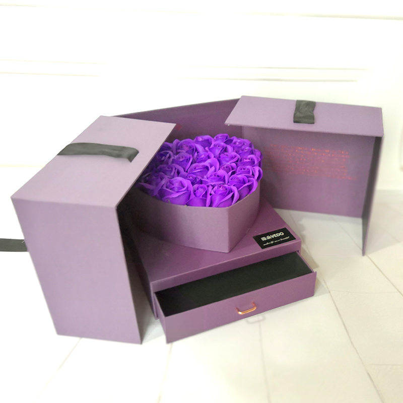 Custom Opening Flower Gifts Box With For Valentine's Day,Double Opening Gift Box,Flower Packaging Square Boxes