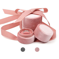 Custom Logo Pink Engagement Round Velvet Ring Box with Ribbon,wholesale Wedding Jewelry Ring Boxes Luxury